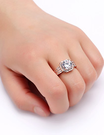 Fashion Rose Gold Round Shape Diamond Decorated Pure Color Ring