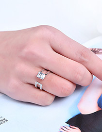 Fashion Silver Color Square Shape Diamond Decorated Double Layer Ring