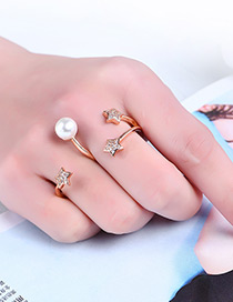 Fashion Rose Gold Stars&pearls Decorated Letter 3 Shape Ring