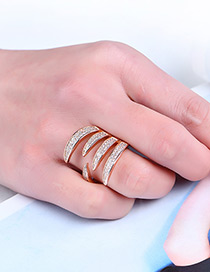 Fashion Rose Gold Claw Shape Decorated Pure Color Ring