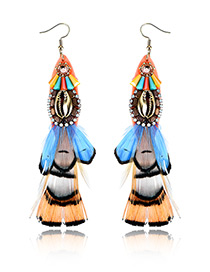 Trendy Multi-color Feather&crystal Decorated Color Matching Earrings