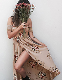 Fashion Coffee Flower Pattern Decorated Off Shoulder Long Dress