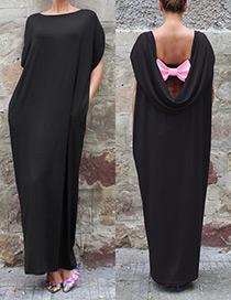 Fashion Black Pure Color Decorated Loose Long Dress
