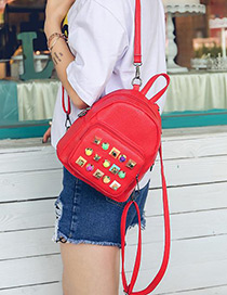 Fashion Red Rivet Decorated Color Matching Simple Backpack