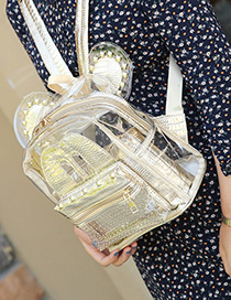 Fashion Gold Color Rivet Decorated Ear Shape Pure Color Simple Backpack