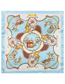 Fashion Light Blue Carriage Pattern Decorated Simple Scarf