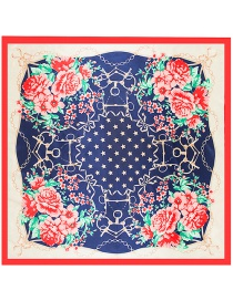 Fashion Red Four Flowers Decorated Square Shape Scarf
