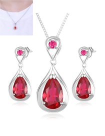 Fashion Plum Red Water Drop Diamond Decorated Jewelry Sets