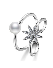 Fashion Silver Color Flower Decorated Double Layer Ring