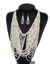 Fashion White Beads Decorated Pure Color Jewelry Sets