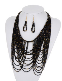 Fashion Black Beads Decorated Pure Color Jewelry Sets