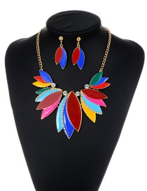 Fashion Multi-color Leaf Decorated Color Matching Jewelry Sets