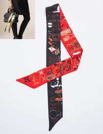 Fashion Red+black Cartoon Pattern Decorated Simple Scarf