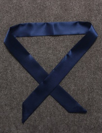 Fashion Dark Blue Pure Color Decorated Simple Scarf