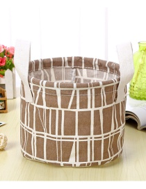 Trendy Brown Stripe Pattern Decorated Pure Color Storage Box