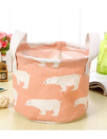 Trendy Pink Polar Bear Pattern Decorated Pure Color Storage Box