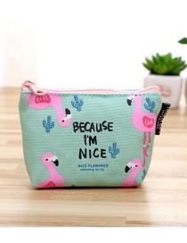 Fashion Multi-color Flamingo Pattern Decorated Color Matching Wallet
