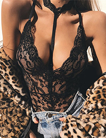 Trendy black Flower Shape Decorated Hollow Out Lace Sexy Underwear