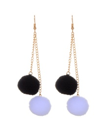 Trendy White+black Ball Shape Decorated Color Matching Pom Earrings