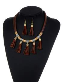 Fashion Brwon Tassel Decorated Pure Color Simple Jewelry Set