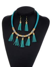 Fashion Lake Blue Tassel Decorated Pure Color Simple Jewelry Set