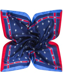 Trendy Blue Bees Pattern Decorated Pure Color Simple Scarf