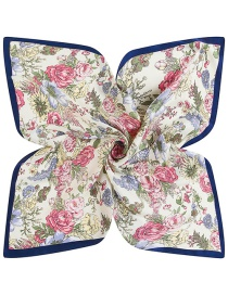 Trendy Multi-color Flower Pattern Decorated Color Matching Scarf