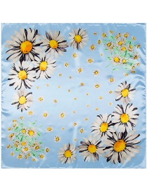 Trendy Multi-color Daisy Pattern Decorated Square Shape Simple Scarf