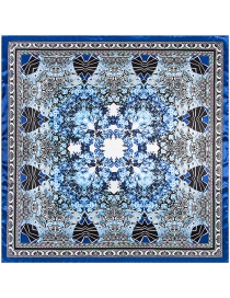 Trendy Blue Flower Pattern Decorated Square Shape Simple Scarf
