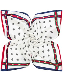 Trendy White Bees Pattern Decorated Pure Color Square Scarf