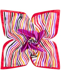 Trendy Red Stripe Pattern Decorated Color Matching Square Scarf
