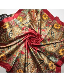 Trendy Red Flower Pattern Decorated Color Matching Square Scarf