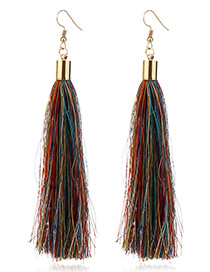 Elegant Multi-color Tassel Deocrated Pure Color Simple Earrings