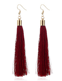 Elegant Red Tassel Deocrated Pure Color Simple Earrings