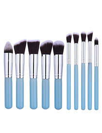 Fashion Blue Geometry Decorated Color Matching Cosmetic Brush (10pcs)