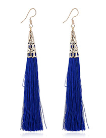Elegant Sapphire Blue Tassel Decorated Pure Color Simple Earrings
