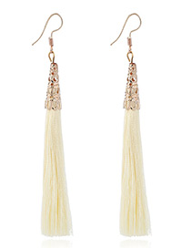 Elegant Beige Tassel Decorated Pure Color Simple Earrings