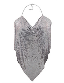 Trendy Silver Color Sequins Decorated Pure Color Simple Body Chain