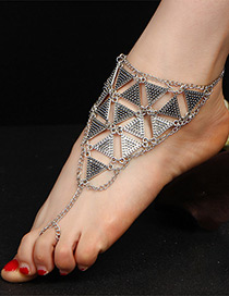Trendy Ancient Silver Color Triangle Shape Decorated Pure Color Anklet