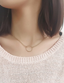 Fashion Gold Color Round Shape Pendant Decorated Simple Necklace