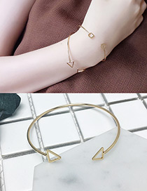 Fashion Gold Color Hollow Out Triangle Decorated Opening Bracelet