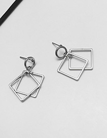 Fashion Silver Color Double Layer Square Shape Decorated Earrings