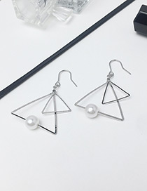 Fashion Silver Color Double Triangle Shape Decorated Earrings