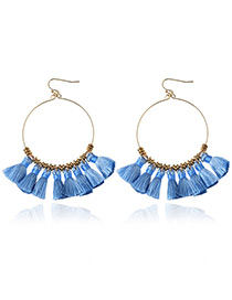 Bohemia Blue Tassle Decorated Round Earrings