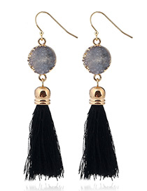 Bohemia Black Long Tassle Decorated Earrings