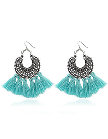 Bohemia Blue Tassel Decorated Hollow Out Earrings
