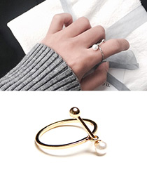 Personality Gold Color Matchstick Shape Decorated Ring