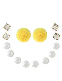 Bohemia Yellow Round Shape Decorated Pom Earrings (7pair)