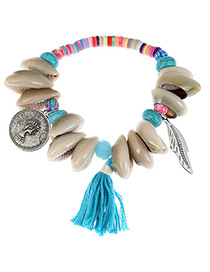Fashion Blue Shell&leaf Decorated Color Matching Bracelet