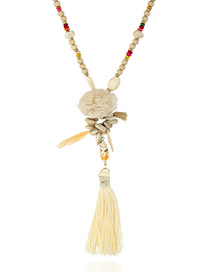 Fashion White Tassel Pendant Decorated Long Necklace